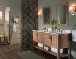 Wooden sink in a modern looking bathroom area