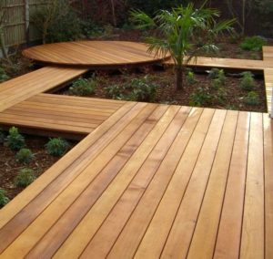 Wooden pathway in a garden area