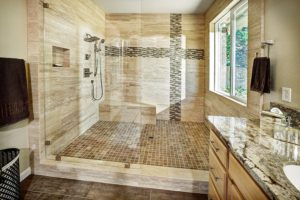 Beautiful bathroom area with wooden accents
